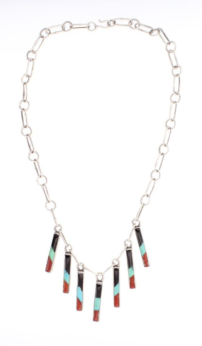 Vintage Turquoise & Coral Inlay Necklace