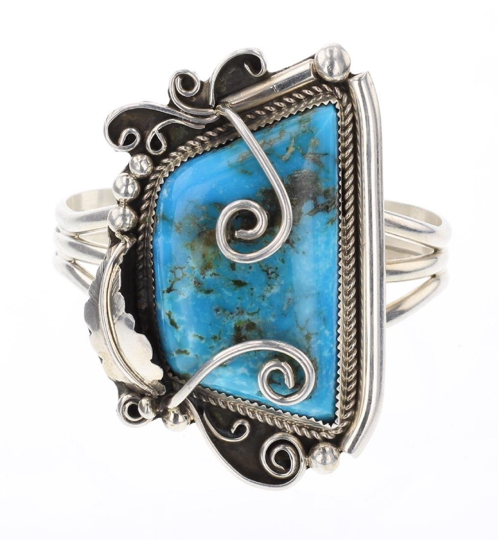 Turquoise Vintage Feather Cuff Bracelet