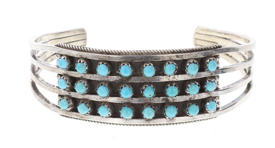 Vintage Turquoise Row Cuff Bracelet