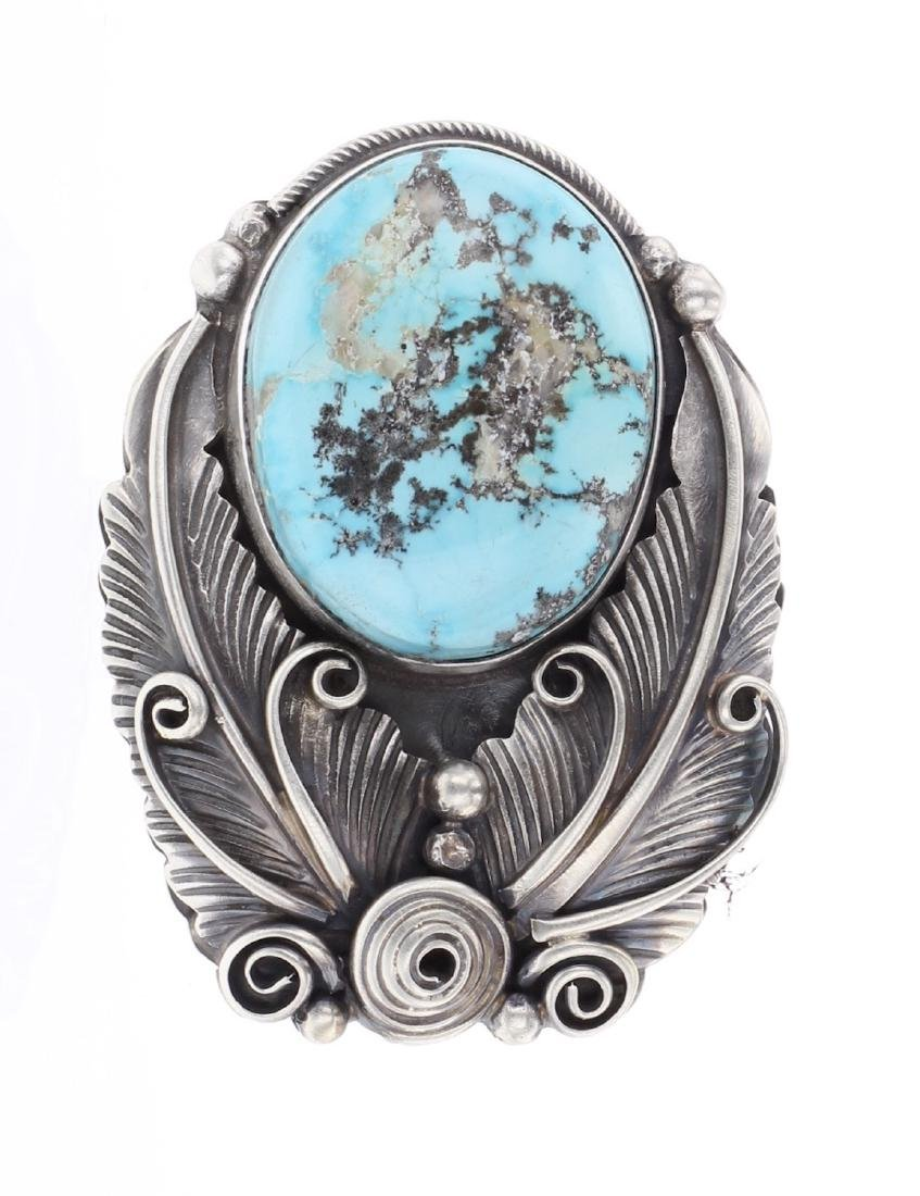 Richard Hoskie Turquoise Contemporary Leaf Ring
