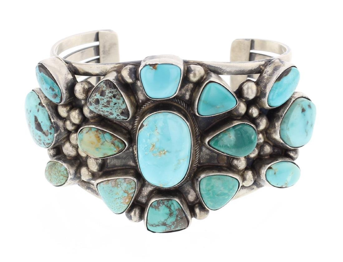 Kathleen Chavez Turquoise Cluster Cuff Bracelet