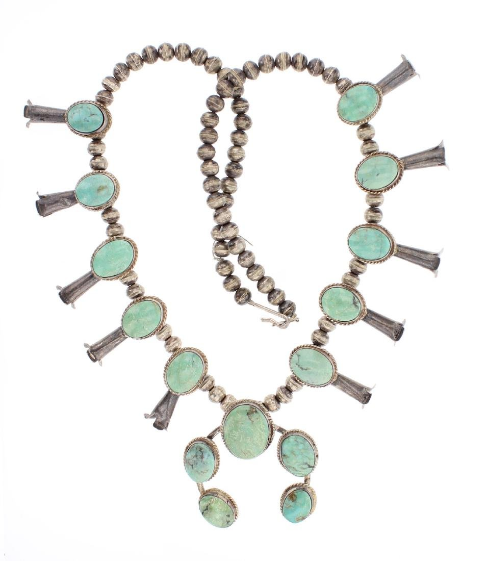 Vintage Turquoise Squash Blossom Necklace