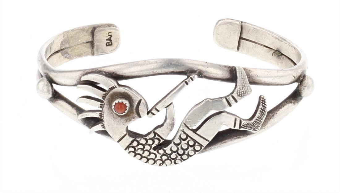 Vintage Coral Kokopelli  Cuff Bracelet