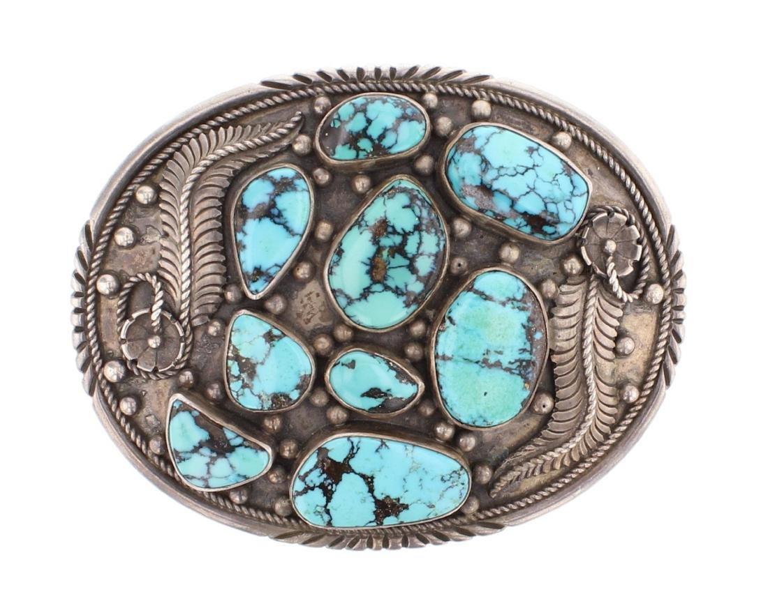 Vintage Old Pawn Turquoise Leaf Belt Buckle