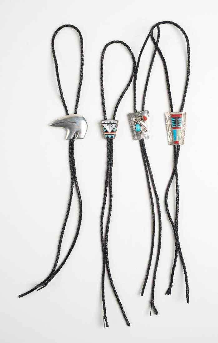 Turquoise & Coral Bolo Tie Lot of Four