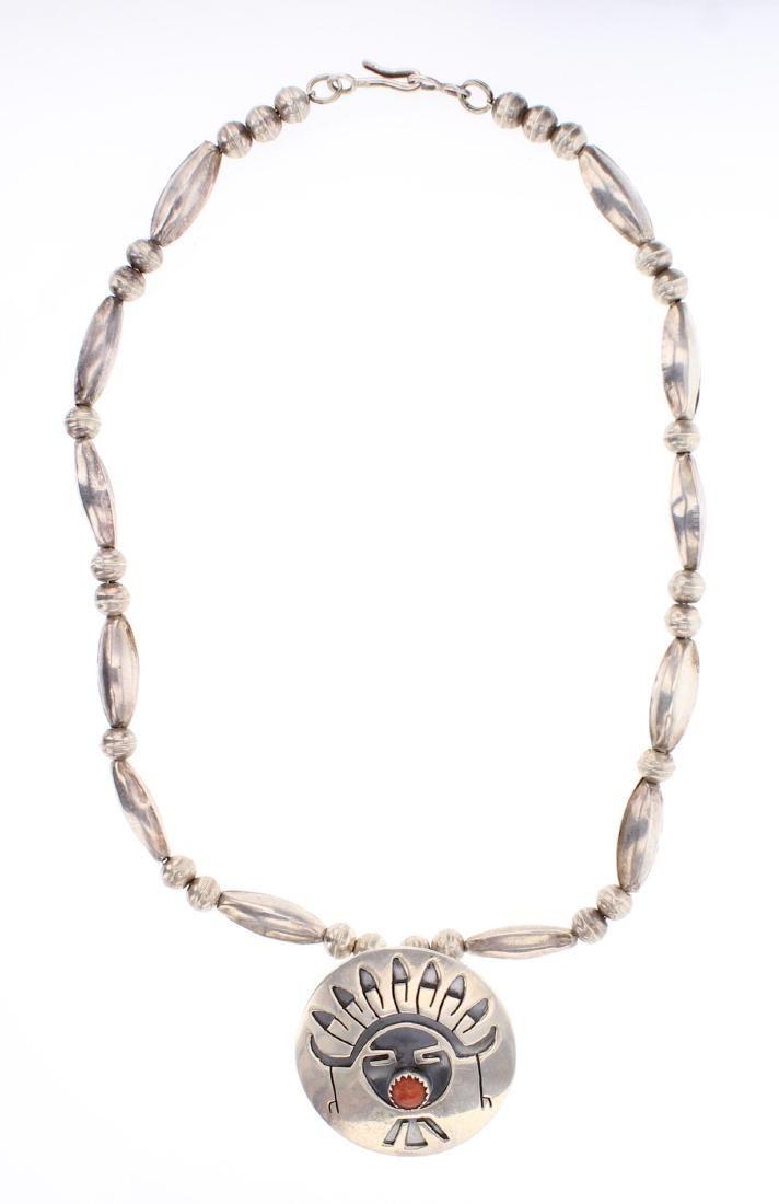 Sadie Same Genuine Coral Pendant & Pin Beads Necklace