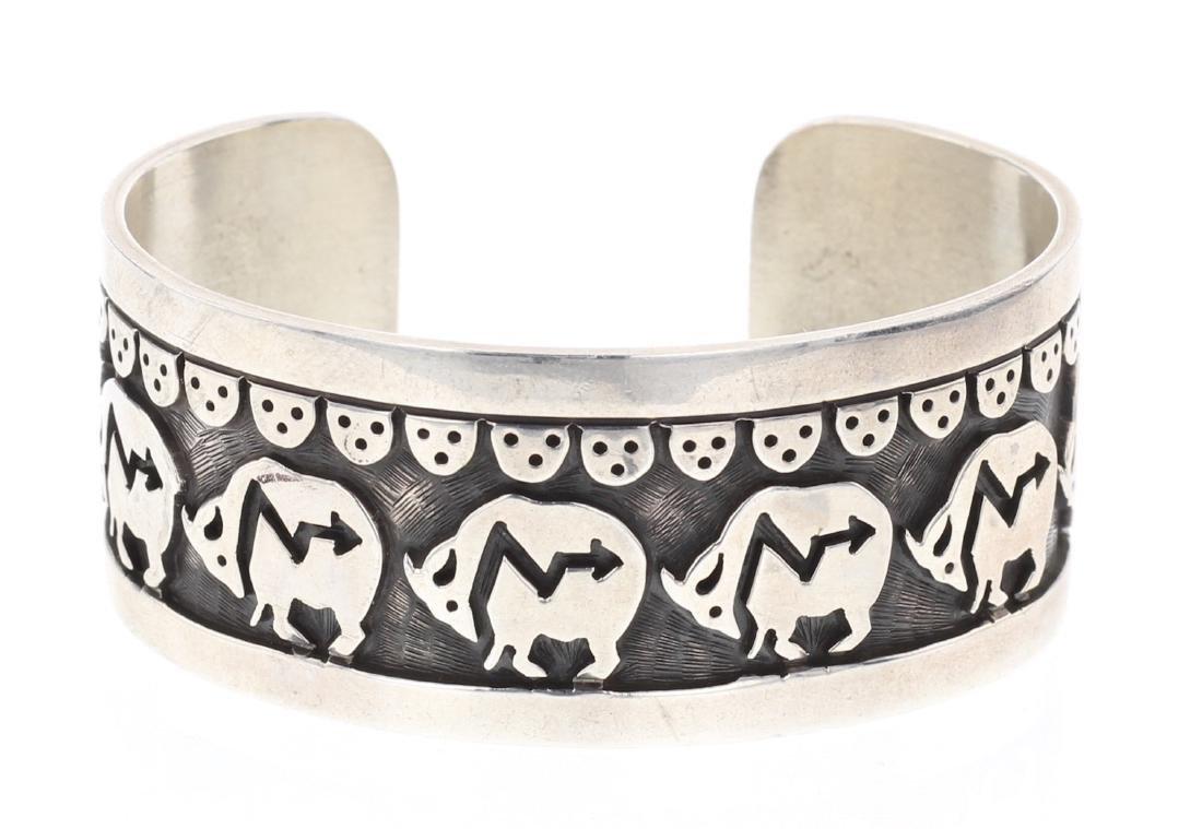 Vintage Hopi Overlay Story Teller Design Cuff Bracelet