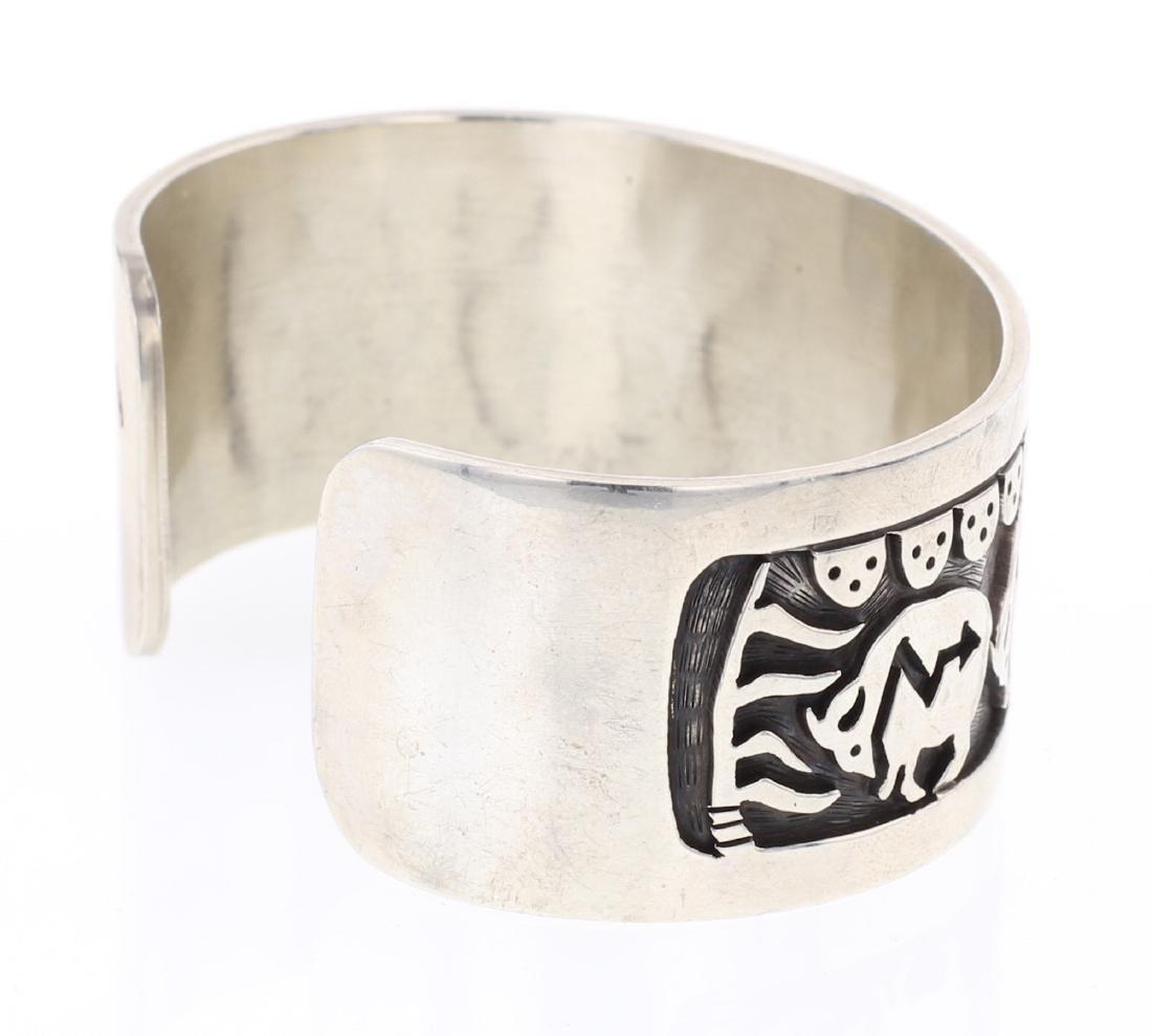 Vintage Hopi Overlay Story Teller Design Cuff Bracelet - 2