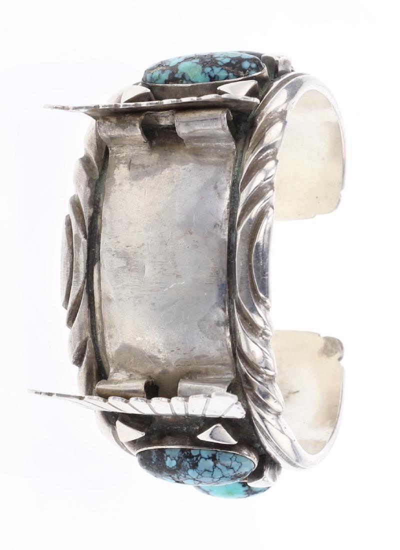 Vintage Turquoise Shadow Box Watch Cuff Bracelet