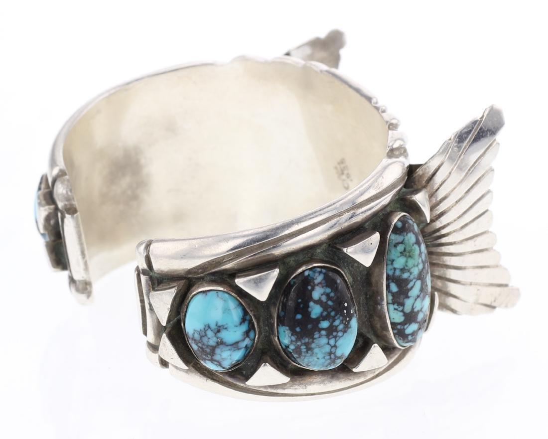 Vintage Turquoise Shadow Box Watch Cuff Bracelet - 2