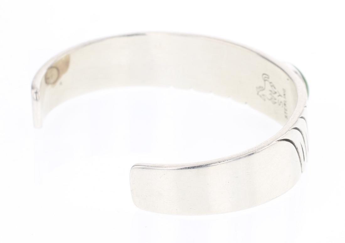 Vintage Turquoise Deep Etch Design Cuff Bracelet - 2