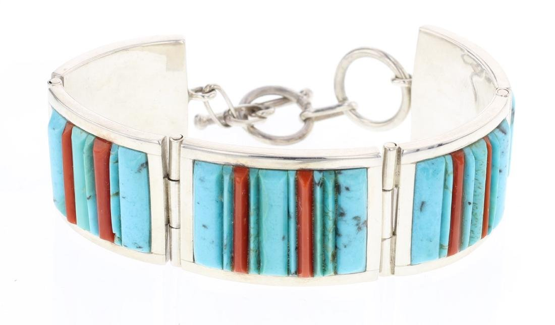 V. Benally Turquoise & Coral Contemporary Cobble Stone