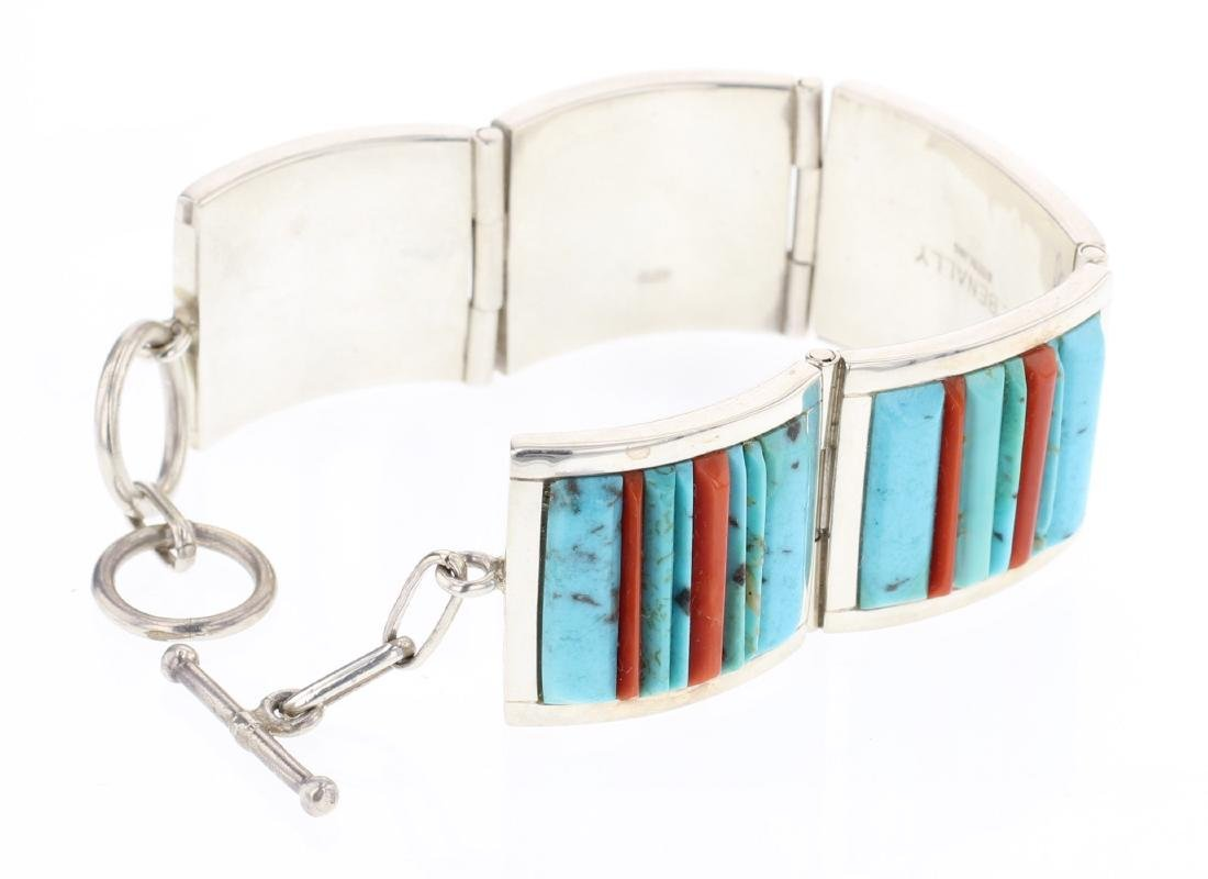 V. Benally Turquoise & Coral Contemporary Cobble Stone - 2