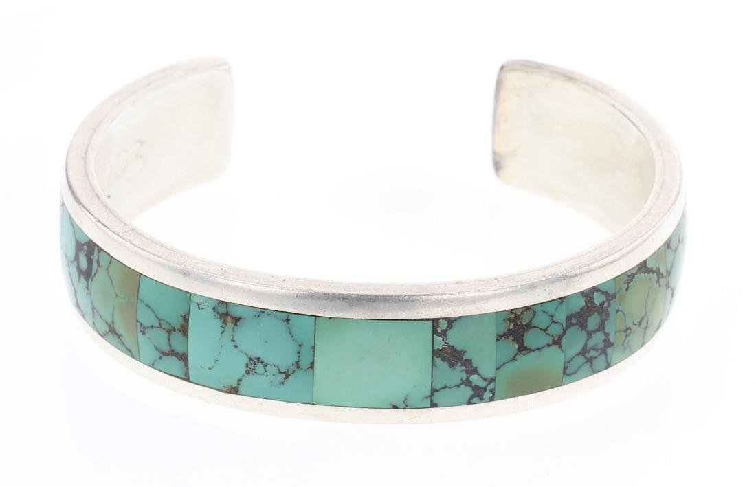 Vintage Turquoise Inlay Cuff Bracelet