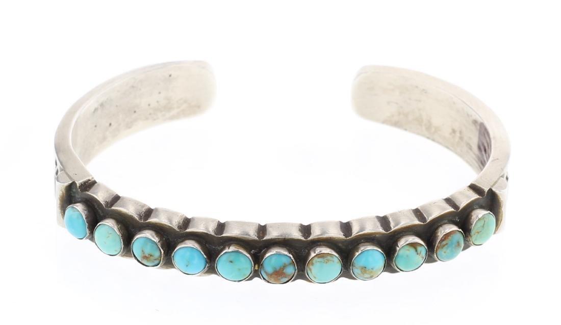 Vintage Turquoise Deep Stamp Row Cuff Bracelet