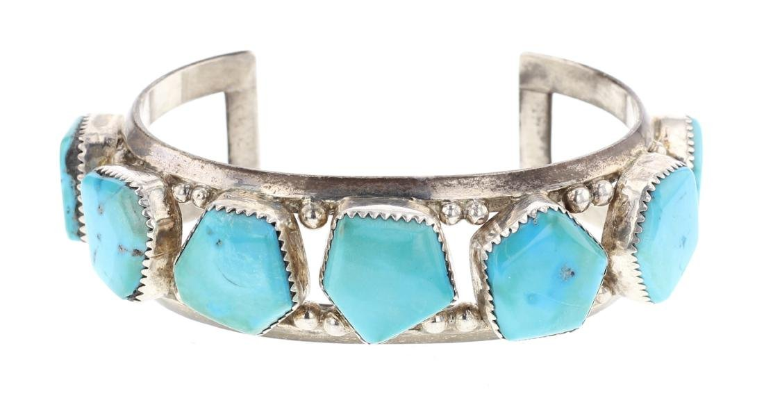 Turquoise Vintage Free Form Row Cuff Bracelet