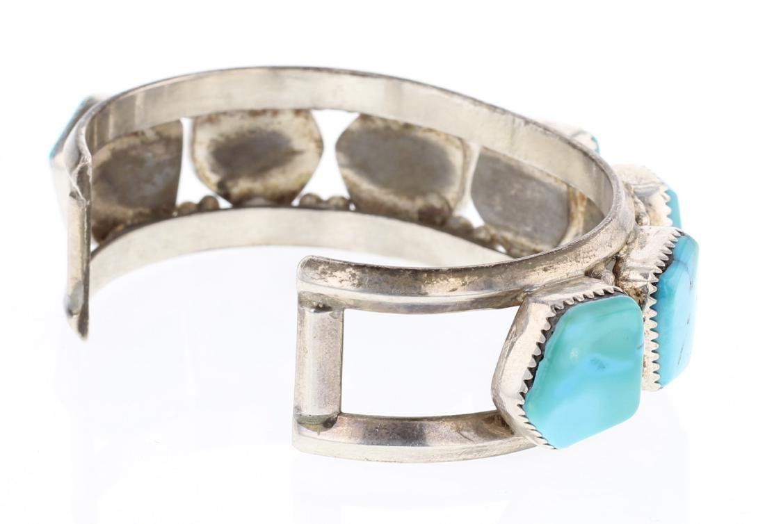 Turquoise Vintage Free Form Row Cuff Bracelet - 2