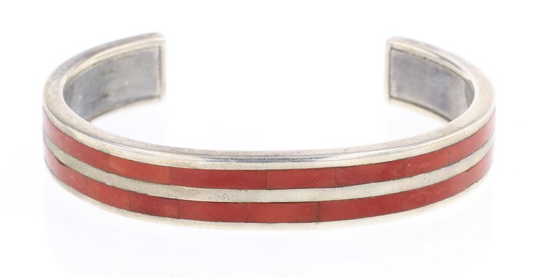 Robin Banteah Coral Inlay Double Row Cuff Bracelet