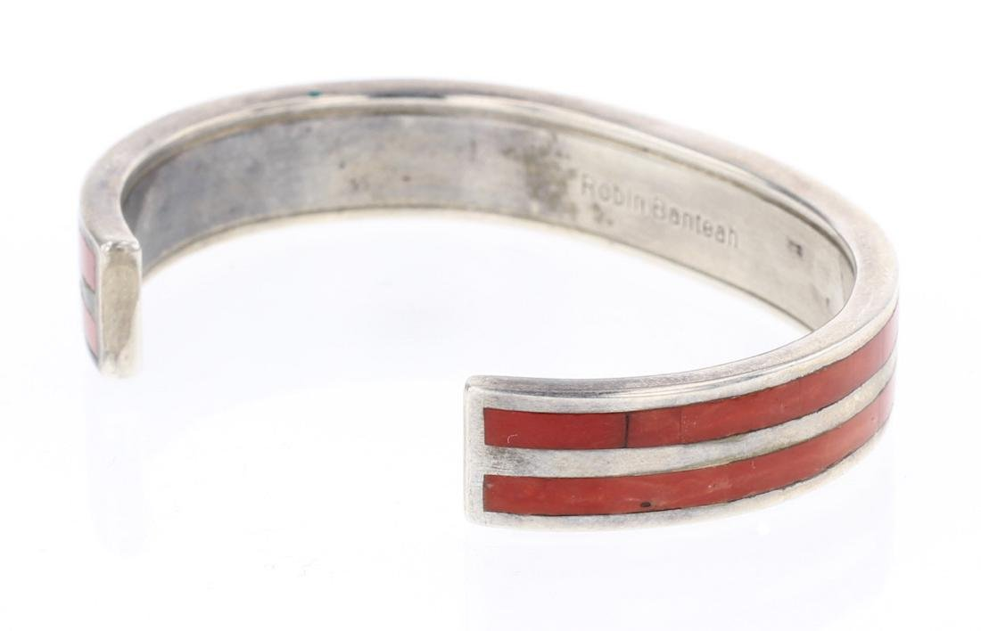 Robin Banteah Coral Inlay Double Row Cuff Bracelet - 2