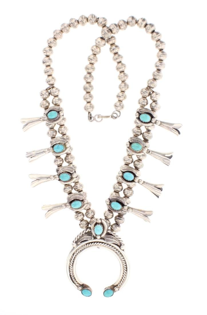 Becenti Vintage Turquoise Squash Blossom Necklace