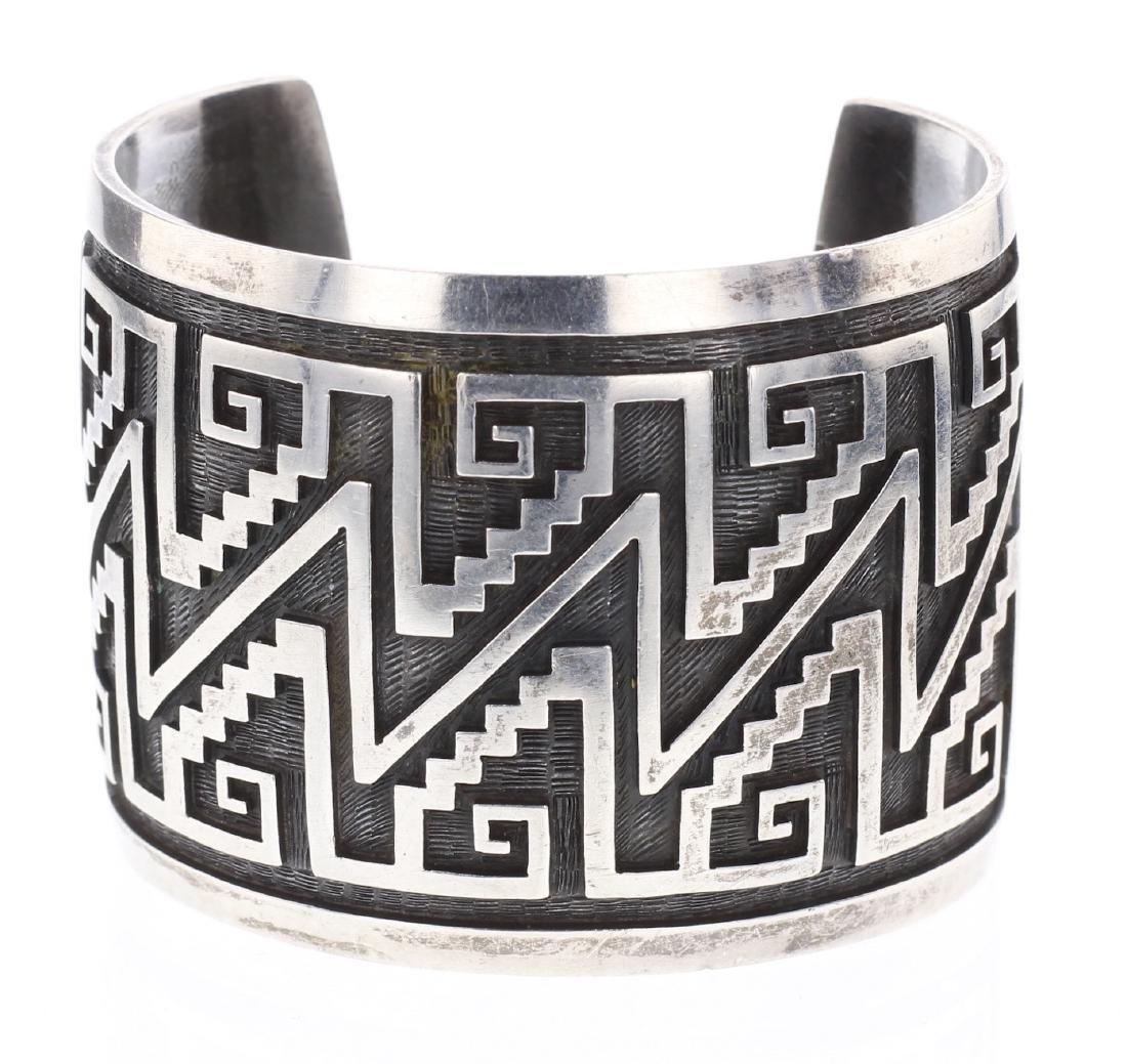Vintage Hopi Overlay Aztec Design Cuff Bracelet