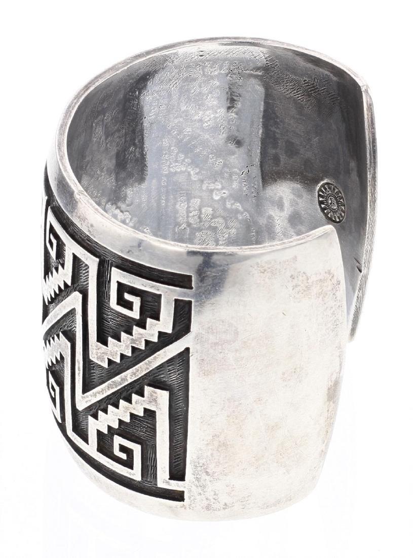 Vintage Hopi Overlay Aztec Design Cuff Bracelet - 2