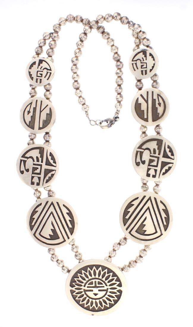 Vintage Hopi Overlay Story Teller Design Necklace