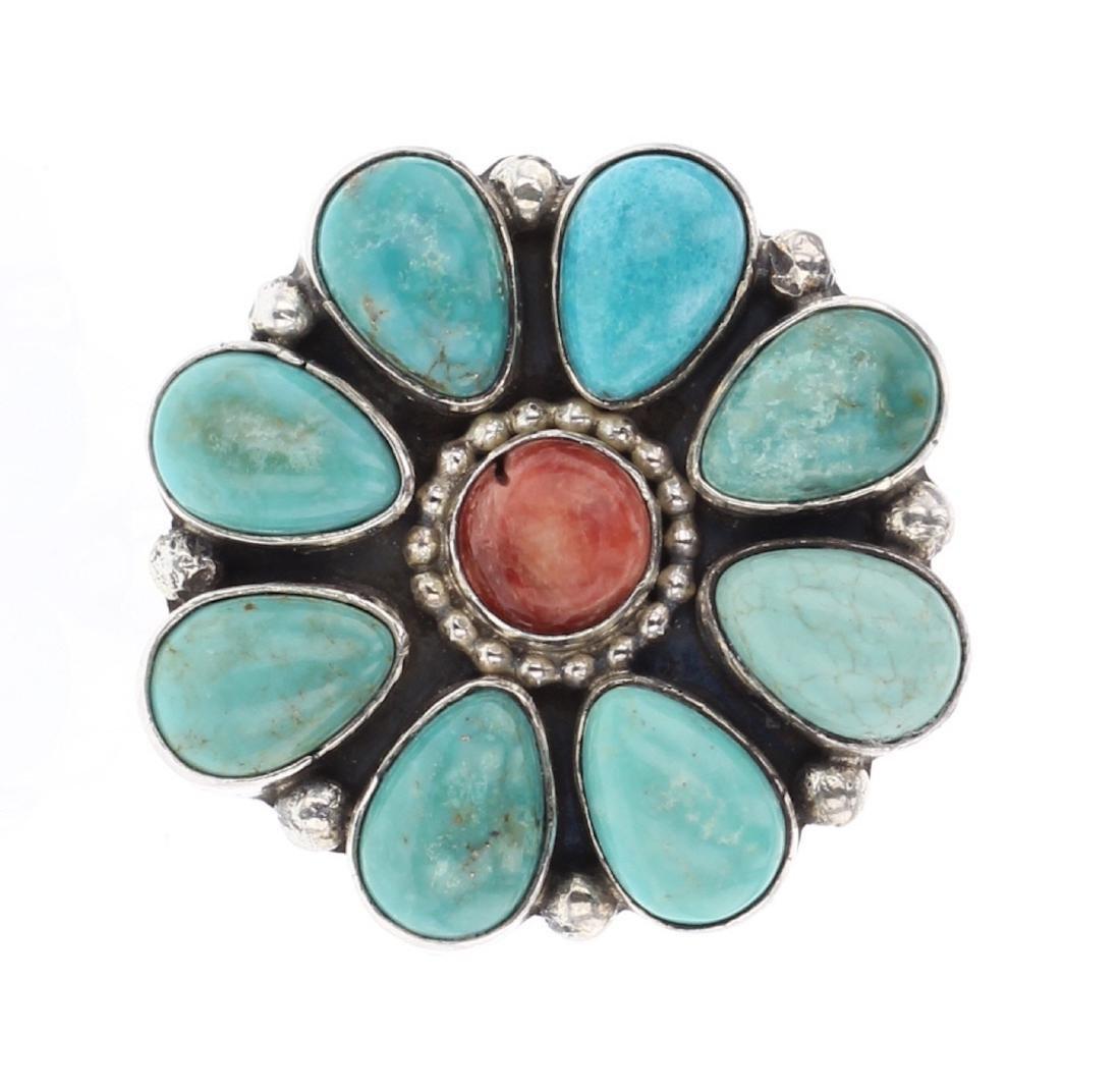 Paul Livingston Turquoise Flower Blossom Ring