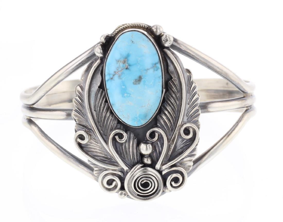 Richard Hoskie Golden Hill Turquoise Leaf Cuff Bracelet