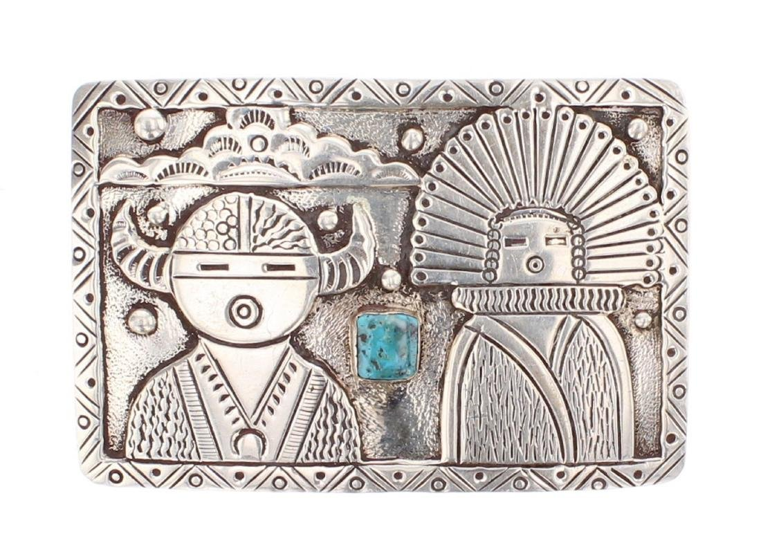Vintage Turquoise Story Teller Design Overlay Belt