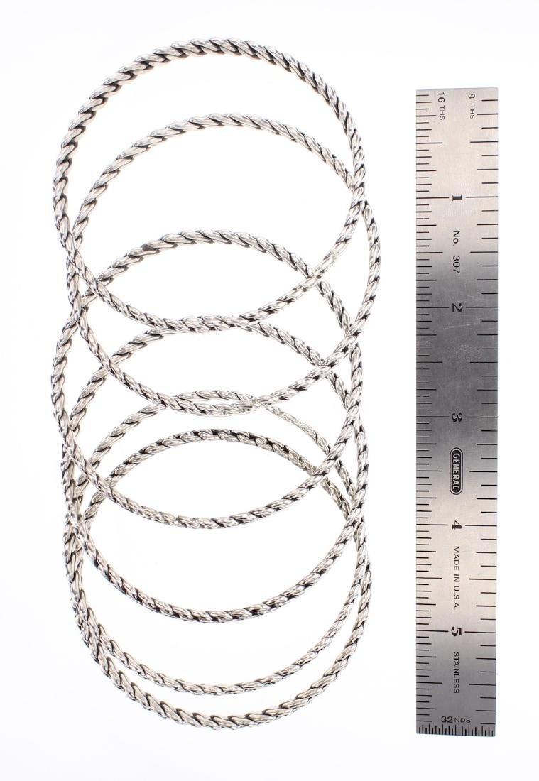 Twist Wire Bangle Bracelet Set of Six - 2