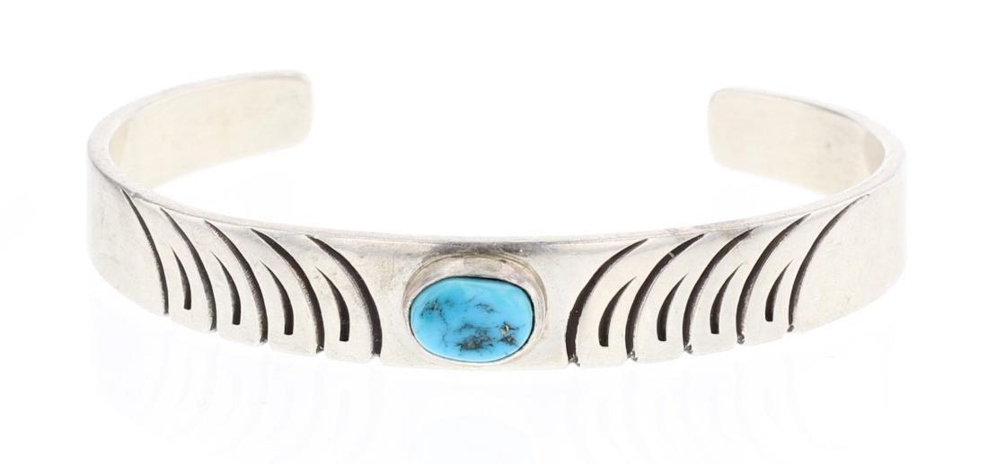 Vintage Turquoise Deep Etch Design Cuff Bracelet