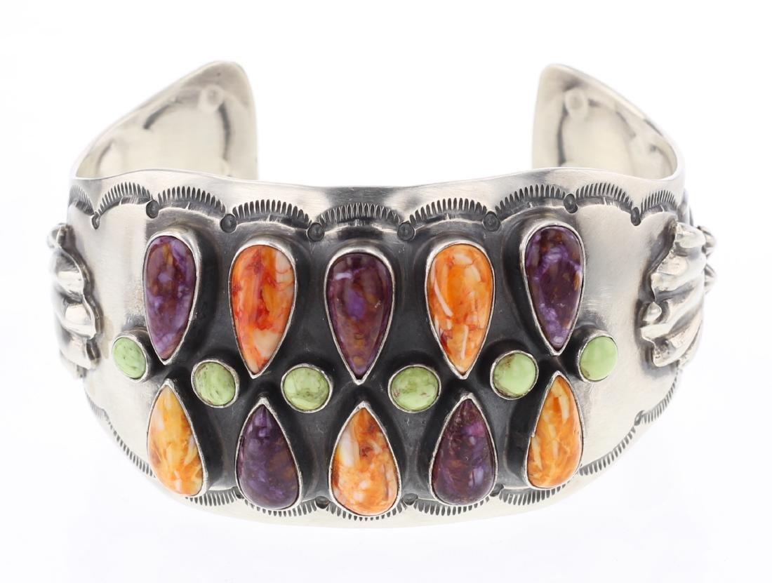 RB Gaspeite & Spiny Oyster Cuff Bracelet
