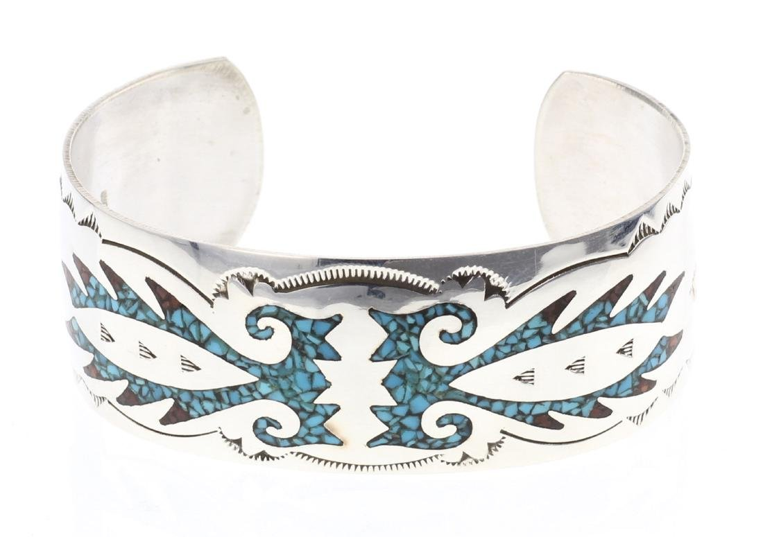Joleen Yazzie Crushed Turquoise & Coral Inlay Cuff