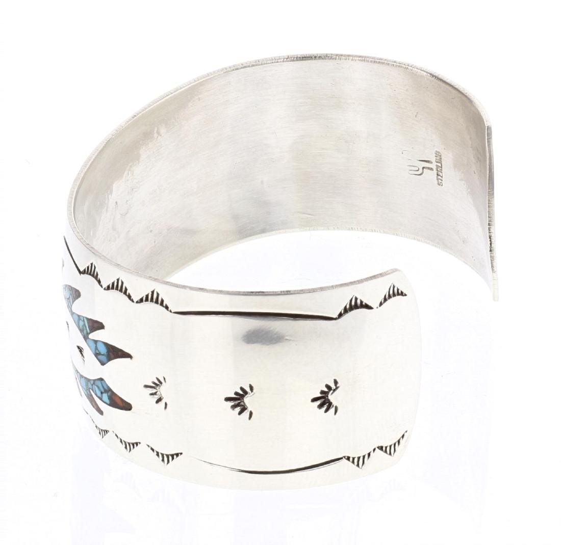 Joleen Yazzie Crushed Turquoise & Coral Inlay Cuff - 2
