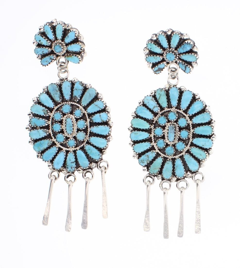 Zeta Begay Turquoise Cluster Chandelier Earrings