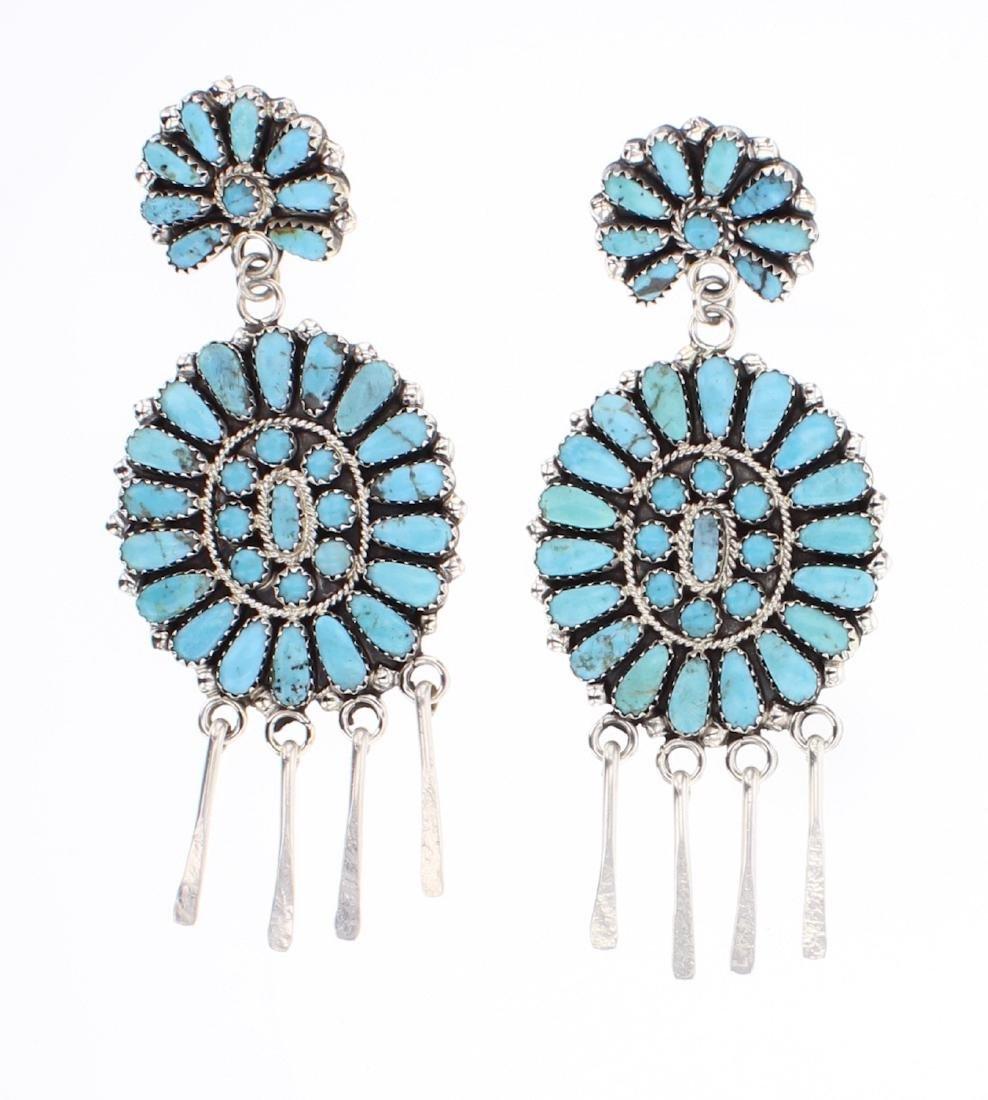 Zeta Begay Turquoise Cluster Chandelier Earrings