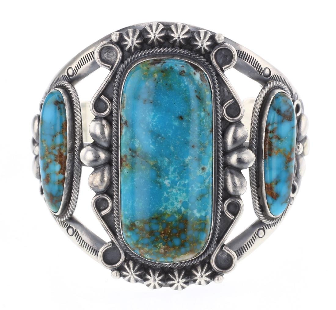 Ray Delgarito Turquoise Stamp Out Cuff Bracelet