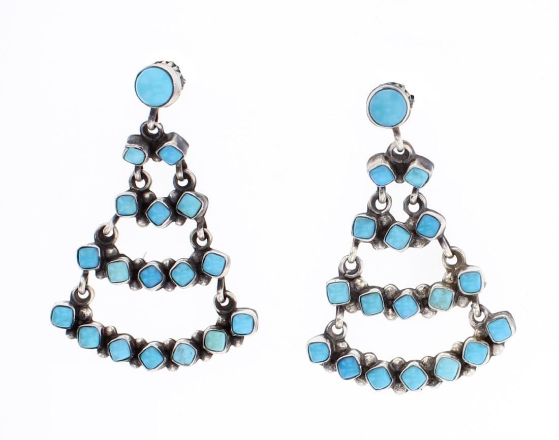 Eleanor Largo Turquoise Chandelier Earrings