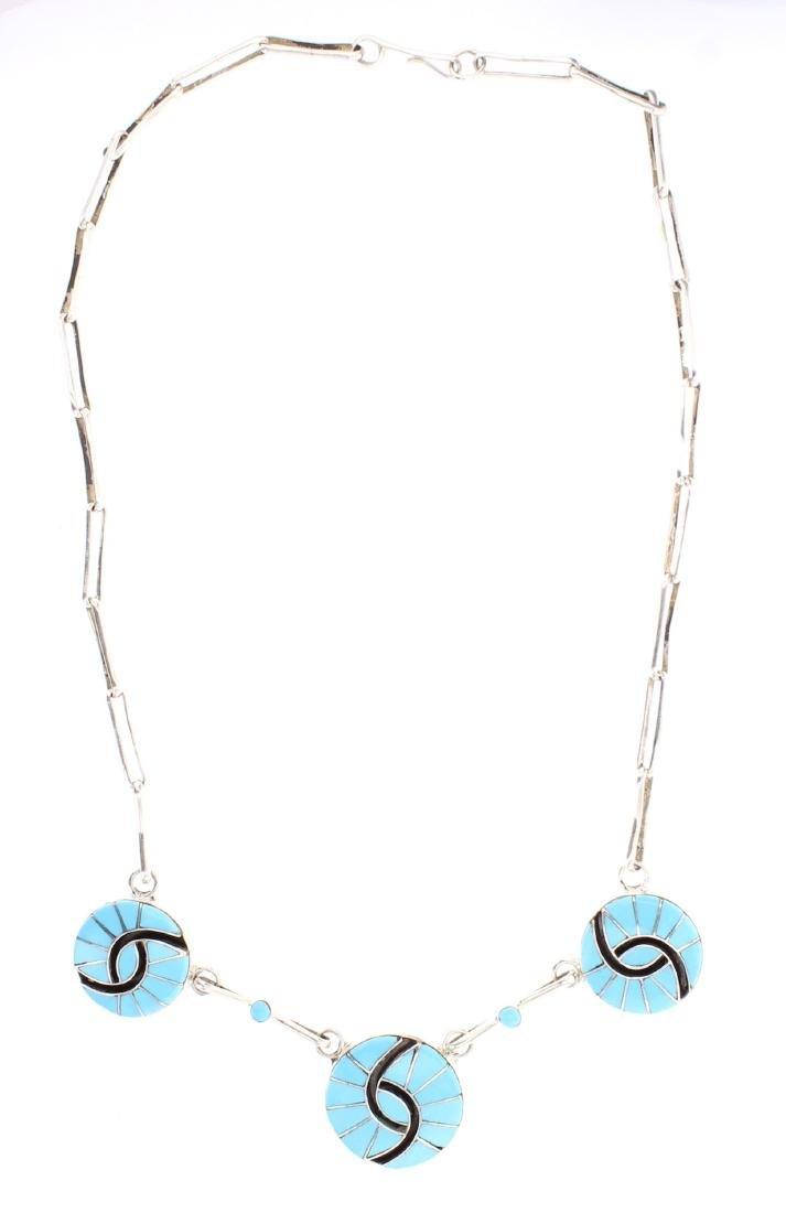 Amy Quandelacy Sleeping Beauty Turquoise Zuni Inlay