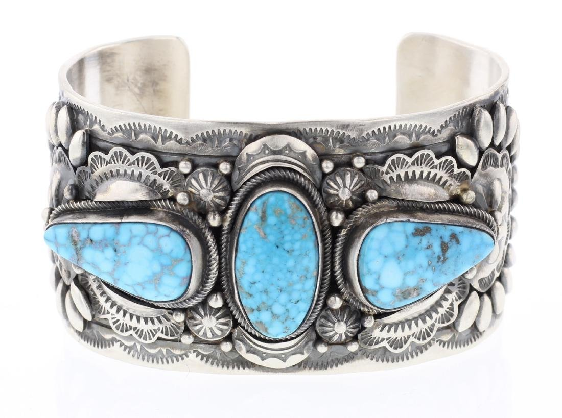 Danny Clark Water Web Kingman Turquoise Stamp Out Cuff
