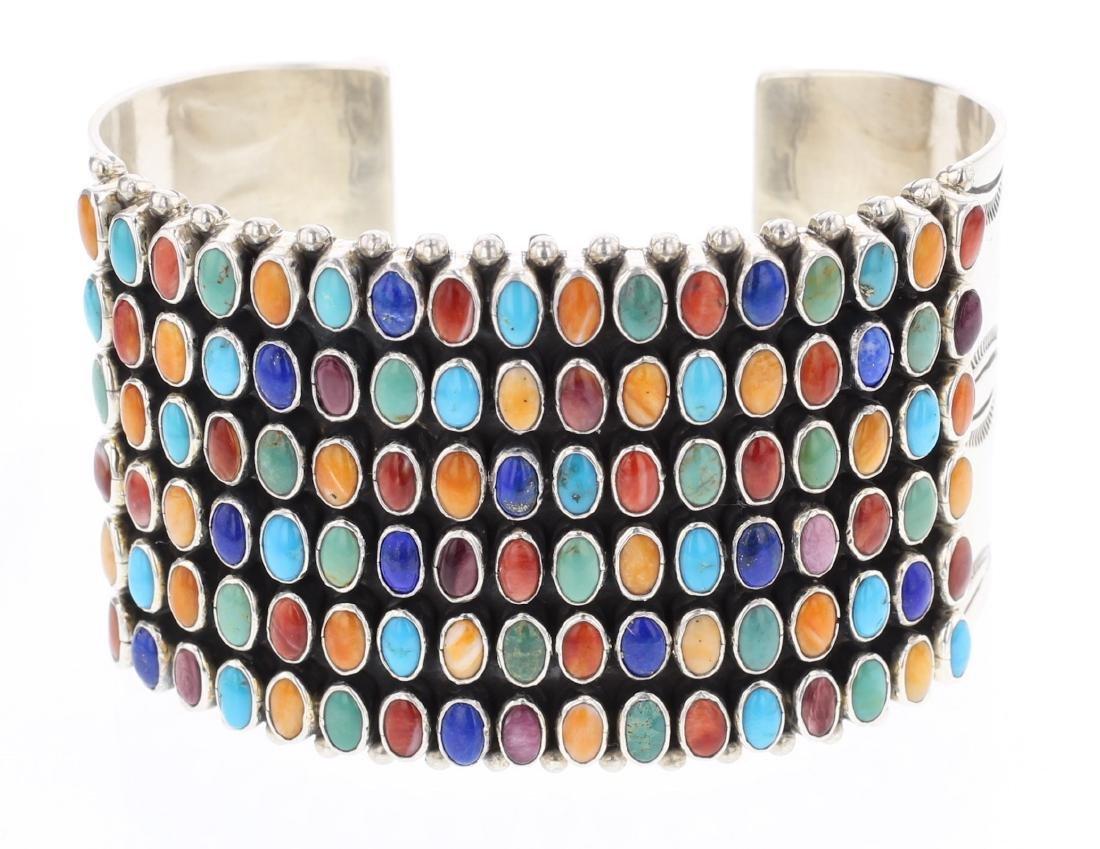 Dee Nez Vintage Multi Stone Row Cuff Bracelet