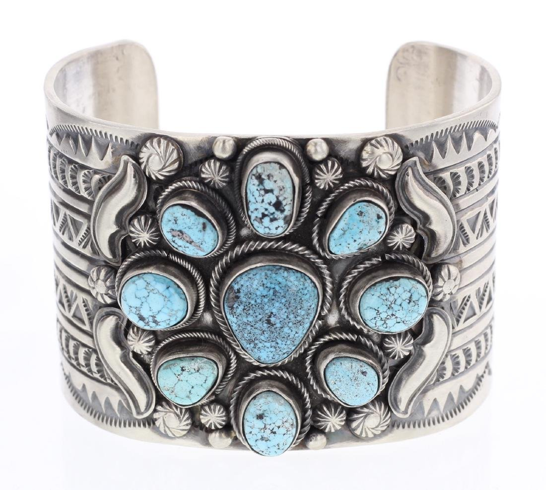 Ray Bennet Turquoise Large Cluster Overlay Cuff