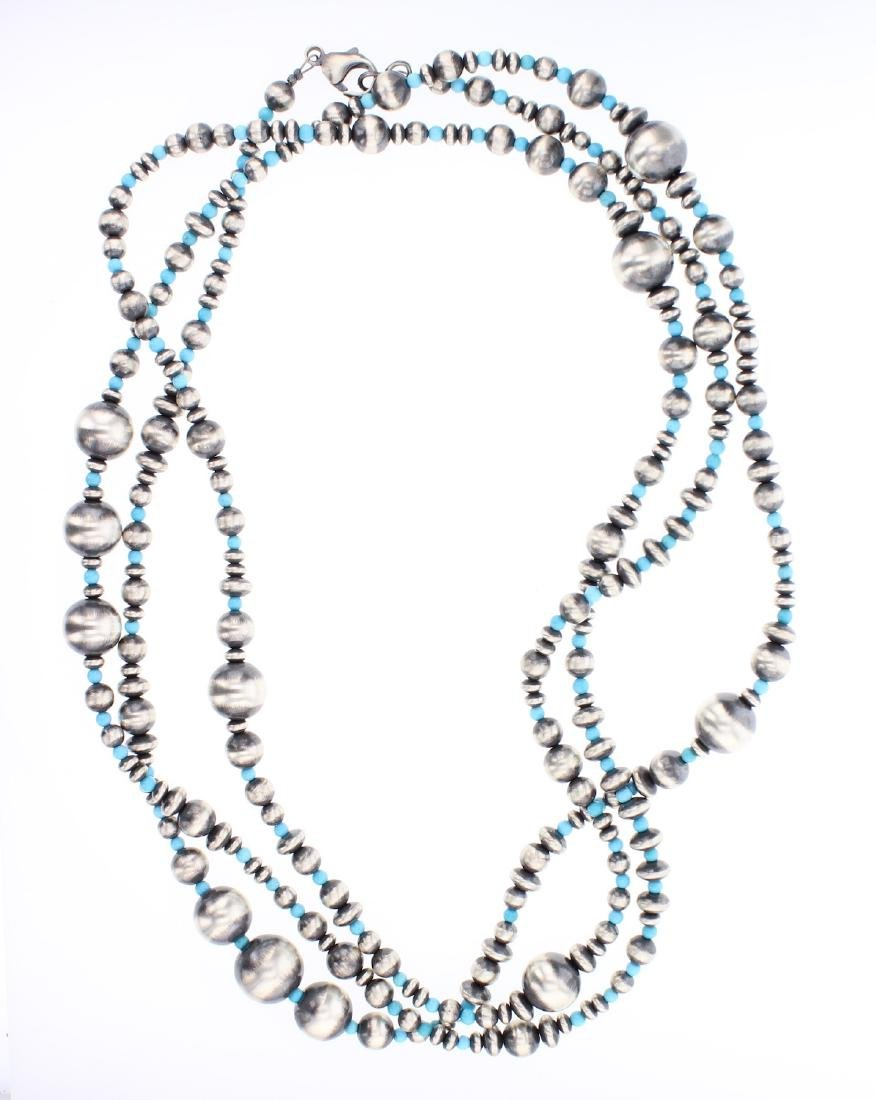 Sleeping Beauty Turquoise 60 Inch Beads Necklace