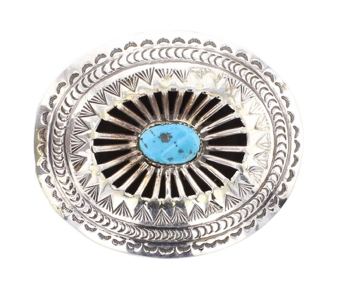 Carson Blackgoat Contemporary Turquoise Belt Buckle