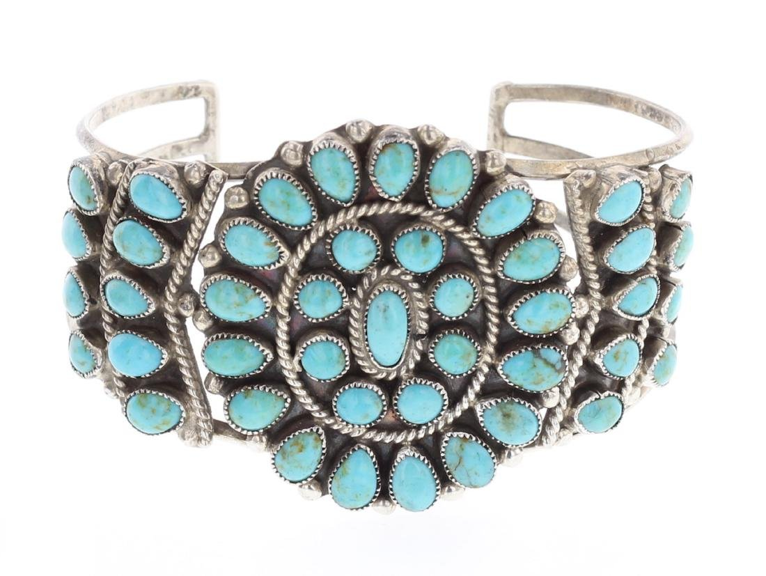 JM Begay Old Pawn Turquoise Cluster Cuff Bracelet
