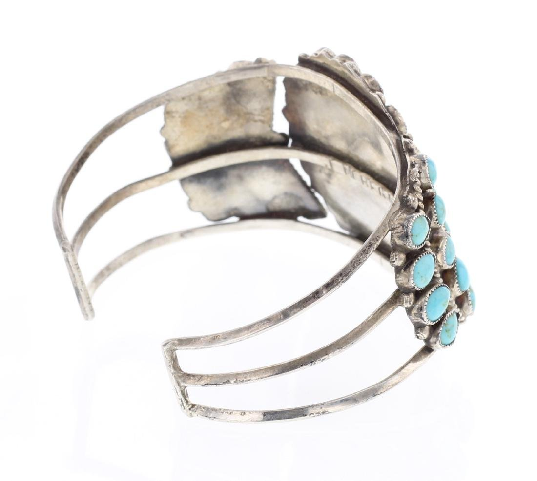 JM Begay Old Pawn Turquoise Cluster Cuff Bracelet - 2