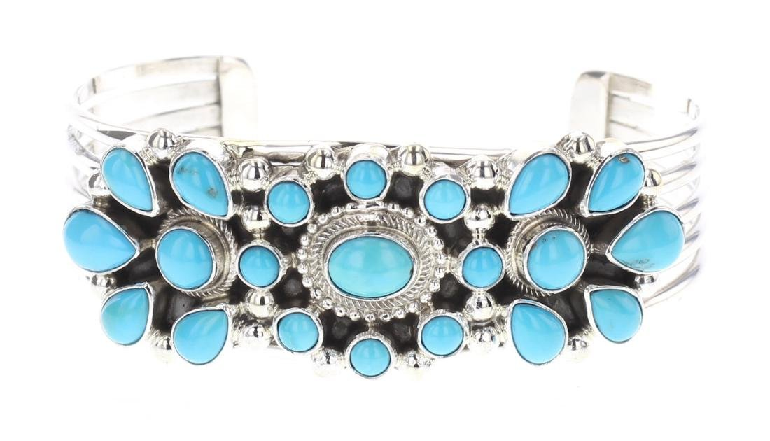 Kathleen Chavez Contemporary Turquoise Cluster Cuff
