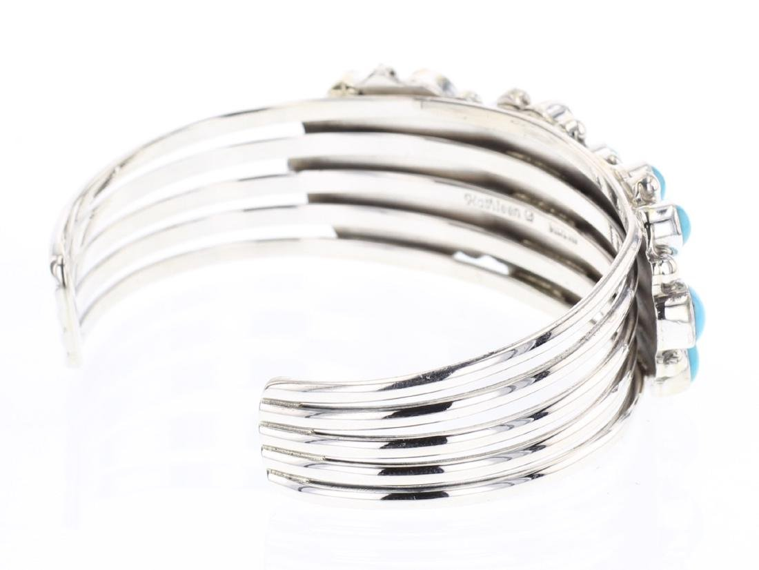 Kathleen Chavez Contemporary Turquoise Cluster Cuff - 2