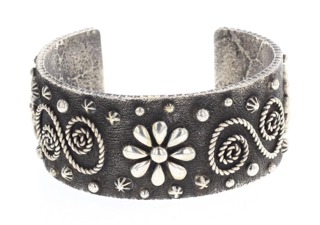 Ernest Rangel Tufa Cast Flower Blossom Cuff Bracelet